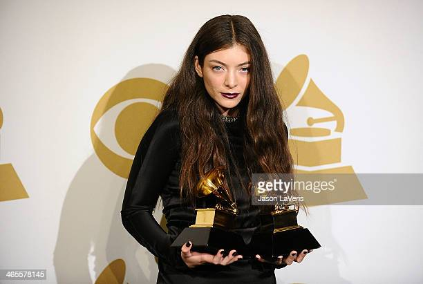 Singer Lorde poses in the press room at the 56th GRAMMY Awards at Staples Center on January 26, 2014 in Los Angeles, California.