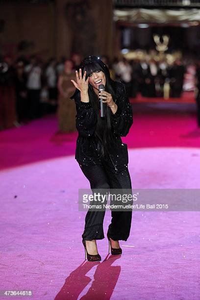 Singer Loreen performs during the Life Ball 2015 show at City Hall on May 16 2015 in Vienna Austria