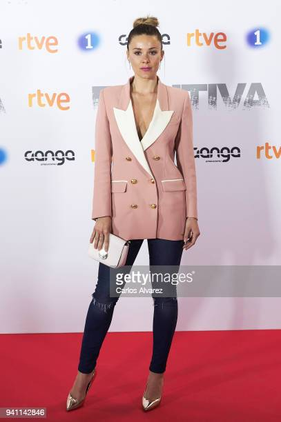 Singer Lorena attends 'Fugitiva' Tv Series at the Callao cinema on April 2 2018 in Madrid Spain