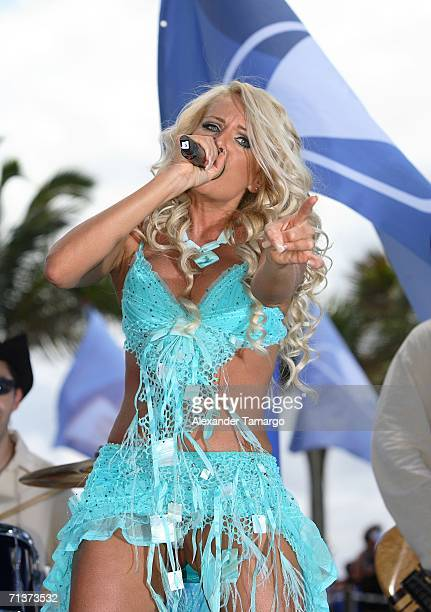 Singer Lorena Herrera on stage during TeleFutura's Reventon Del 4 De Julio show special live from the Doubletree Surfcomber Hotel on July 4 2006 in...