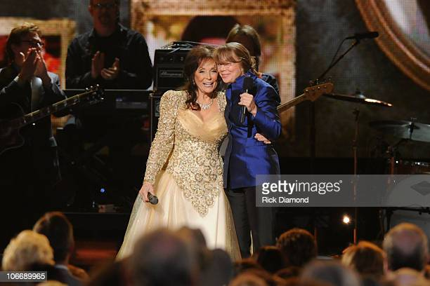 Singer Loretta Lynn and actress Sissy Spacek speak at the 44th Annual CMA Awards at the Bridgestone Arena on November 10 2010 in Nashville Tennessee