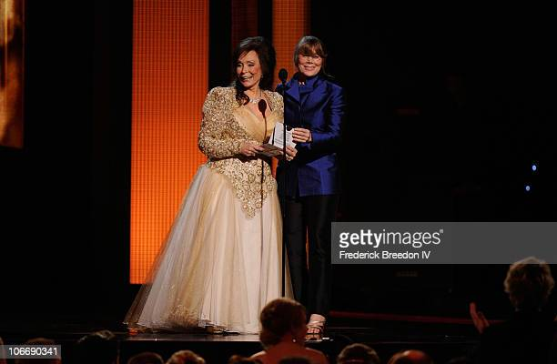 Singer Loretta Lynn and actress Sissy Spacek speak onstage at the 44th Annual CMA Awards at the Bridgestone Arena on November 10 2010 in Nashville...