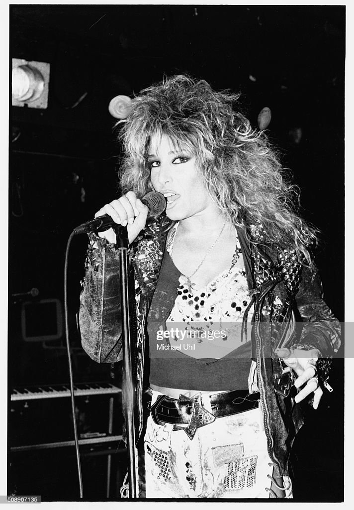 Singer Lorraine Lewis performing on stage with her band 'Femme Fatale', 1988.
