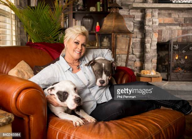 Singer Lorrie Morgan is photographed with her dogs for Closer Weekly Magazine on January 20 2016 at home in Tennessee
