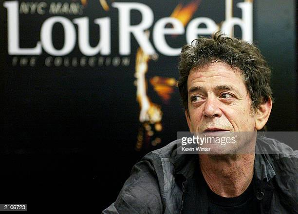 Singer Lou Reed poses at an autograph signing to promote his new CD NYC Man at Tower Records on June 23 2003 in West Hollywood California