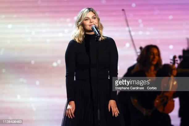 Singer Louane Emera performs during the 34th 'Les Victoires De La Musique' Show at La Seine Musicale on February 08, 2019 in Boulogne-Billancourt,...