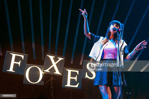 Singer Louisa Rose Allen aka Foxes performs on stage supporting Pharrell Williams at O2 Arena on October 9, 2014 in London, United Kingdom.
