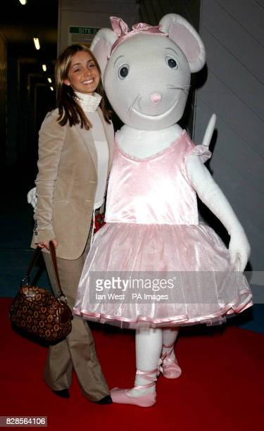 Singer Louise Redknapp poses with children's TV star Angelina Ballerina during the Nutcracker premiere preperformance party at the Coliseum in London