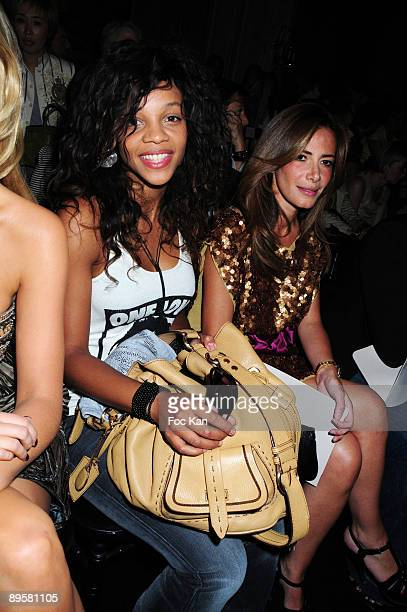 Singer Louisy Joseph and TV chronicler Elsa Fayer attend the Georges Hobeika Paris Fashion Week Haute Couture A/W 2009/10 at the Hotel George V on...