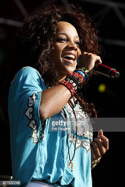 """Singer Louisy Joseph performs on stage during the """"Musik'Elles"""" Festival in Meaux."""