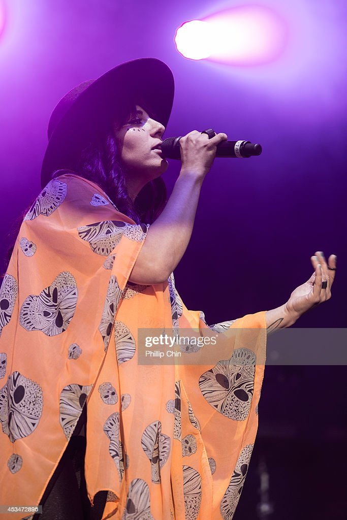 Singer Loulou Ghelichkhani of Thievery Corporation performs at the Squamish Valley Music Festival on August 10, 2014 in Squamish, Canada.
