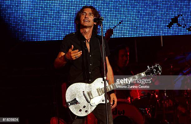 Singer Luciano Ligabue performs at San Siro on July 4 2008 in Milan Italy