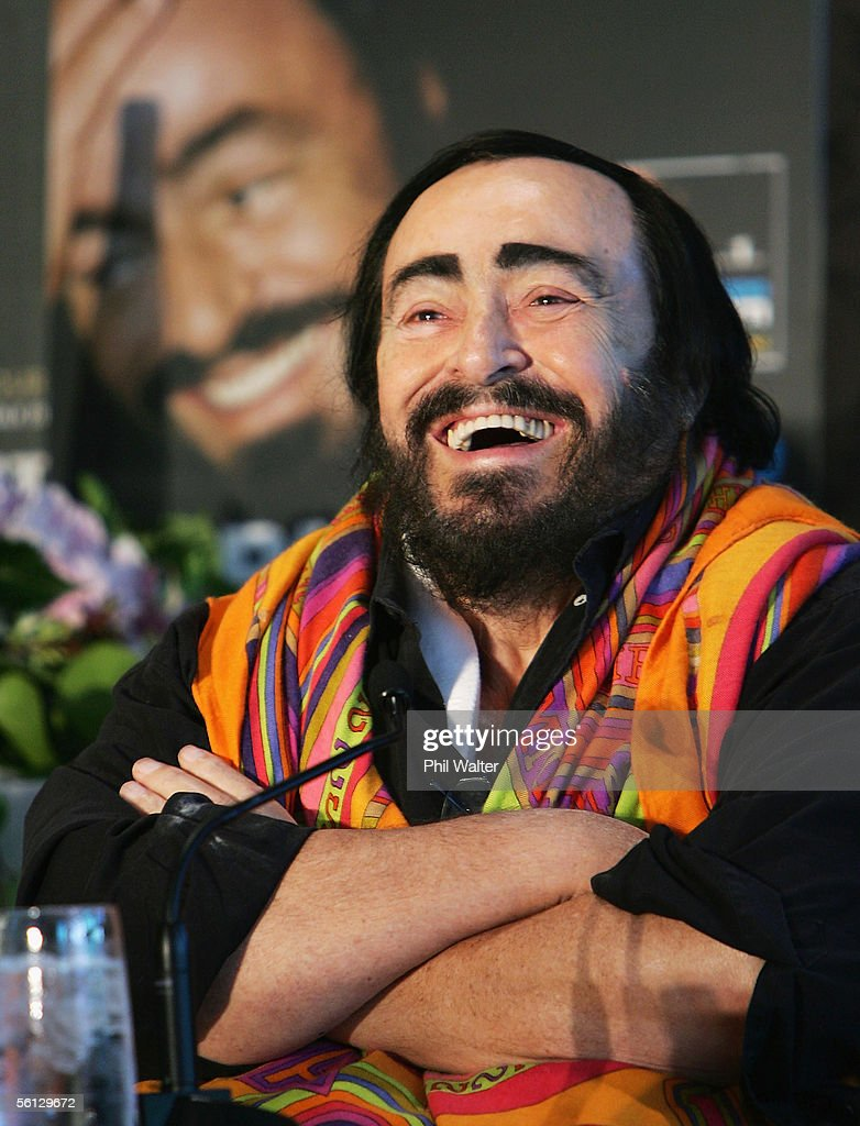 Singer Luciano Pavarotti laughs during a press conference at Sky City Grand on November 18, 2005 in Auckland, New Zealand. Pavarotti is in Auckland for a concert on Saturday as part of his Worldwide Farewell Tour.