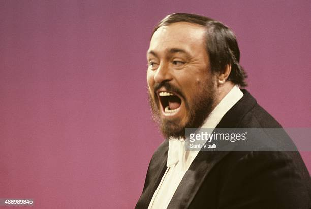 Singer Luciano Pavarotti on TV on November 3, 1980 in New York, New York.