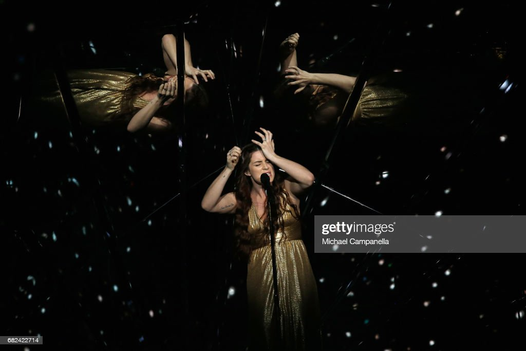 Singer Lucie Jones, representing the United Kingdom, performs the song 'Never Give Up On You' during the rehearsal for ''The final of this year's Eurovision Song Contest'' at International Exhibition Centre (IEC) on May 12, 2017 in Kiev, Ukraine. The final of this years Eurovision Song Contest will be aired on May 13, 2017.