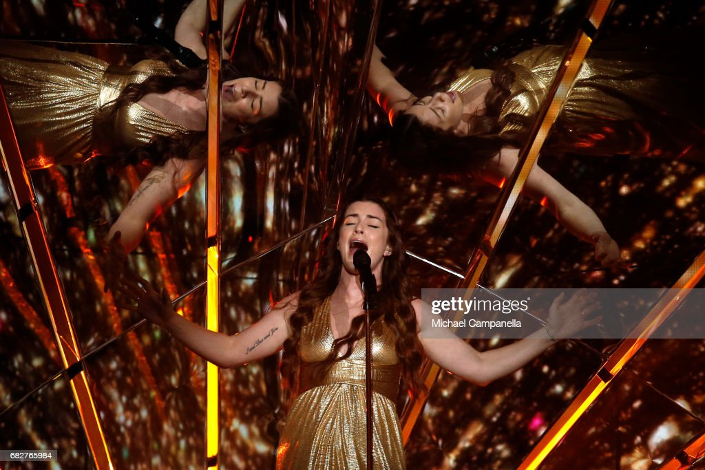 Singer Lucie Jones, representing the United Kingdom, performs the song 'Never Give Up On You' during the final of the 62nd Eurovision Song Contest at International Exhibition Centre (IEC) on May 13, 2017 in Kiev, Ukraine.