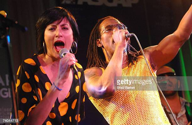 Singer Lucy Diamentes and Pedro Martinez of the band Yerba Buena performs onstage at the ASCAP Tribeca Music Lounge held at the Canal Room during the...
