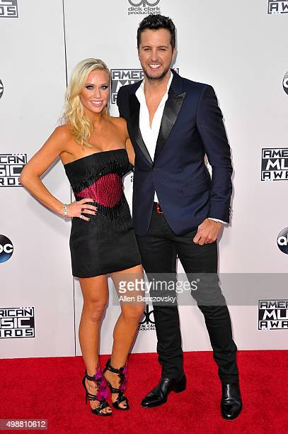 Singer Luke Bryan and Caroline Boyer arrive at the 2015 American Music Awards at Microsoft Theater on November 22 2015 in Los Angeles California