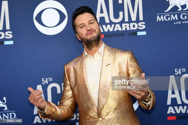 US singer Luke Bryan arrives for the 54th Academy of Country Music Awards on April 7 at the MGM Grand Garden Arena in Las Vegas Nevada