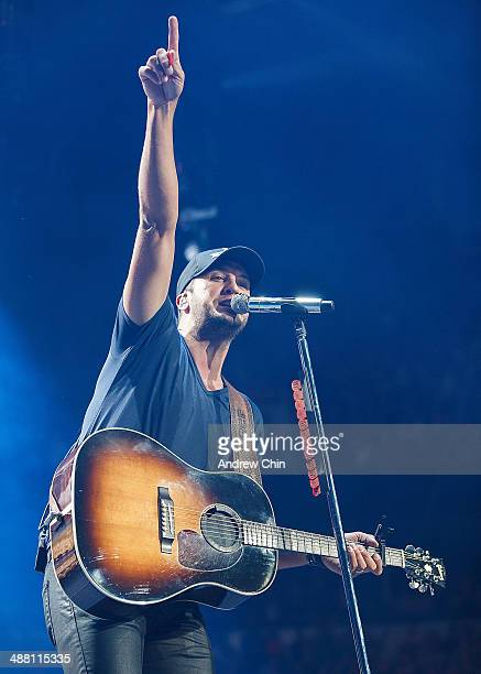 "Singer Luke Bryan performs during his ""That's My Kind of Night"" tour at Rogers Arena on May 3, 2014 in Vancouver, Canada."