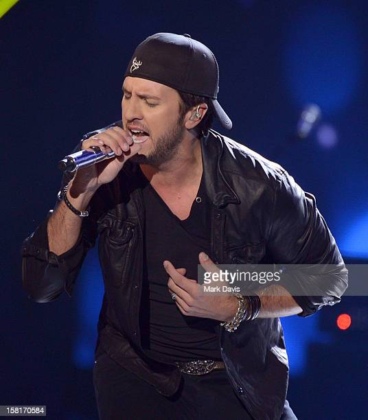 Singer Luke Bryan performs onstage during the 2012 American Country Awards at the Mandalay Bay Events Center on December 10 2012 in Las Vegas Nevada