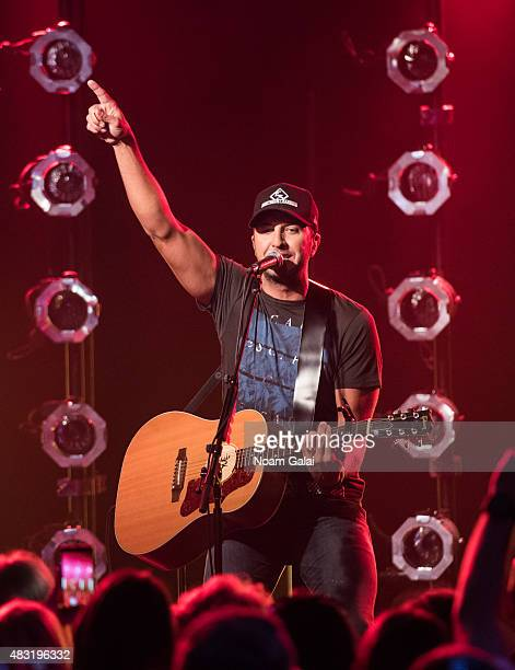 Singer Luke Byran performs during the Luke Byran album release party at iHeartradio Performance Theater on August 6 2015 in New York City