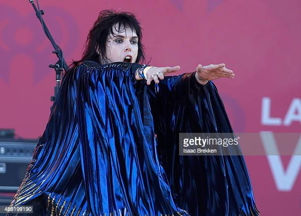 Singer Luke Spiller of The Struts performs onstage at The Daytime Village during the 2015 iHeartRadio Music Festival at the Las Vegas Village on...
