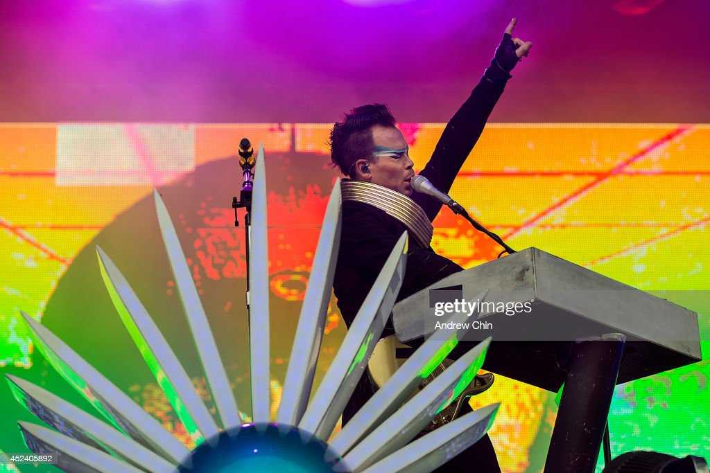 Singer Luke Steele of Empire of the Sun performs on stage during Day 1 of Pemberton Music and Arts Festival on July 18, 2014 in Pemberton, Canada.