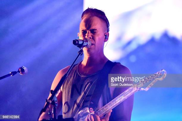 Singer Luke Steele of Empire of the Sun performs with his band DREAMS on the Mojave stage during week 1 day 1 of the Coachella Valley Music and Arts...