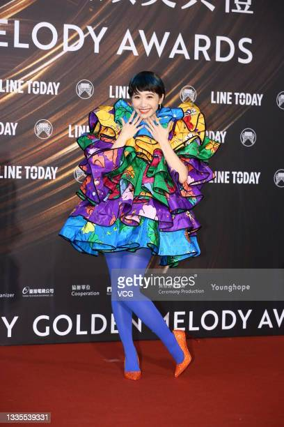 Singer Lulu Huang Lu Zi Yin arrives at the red carpet of the 32nd Golden Melody Awards on August 21, 2021 in Taipei, Taiwan of China.