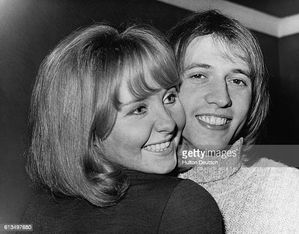 Singer Lulu with her husband Maurice Gibb of The Bee Gees after he had to shave his beard off for a stage role