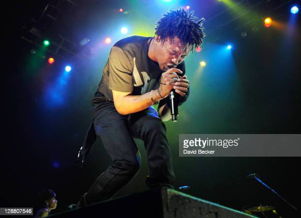 Singer Lupe Fiasco performs at The Pearl concert theater at the Palms Casino Resort on October 9 2011 in Las Vegas Nevada