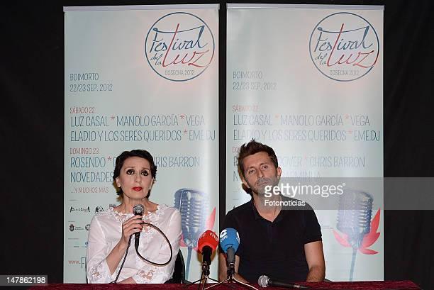 Singer Luz Casal and producer Farruco Castroman attend a press conference to present 'Festival de la Luz' at the Lara Theater on July 5 2012 in...