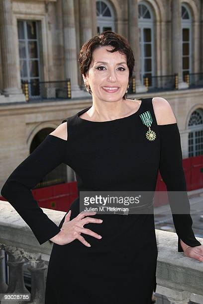 Singer Luz Casal poses after being decorated with the 'Officier dans l'Ordre des Arts et des Lettres' by French Minister of Culture Frederic...