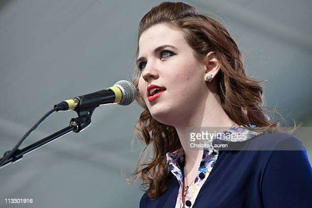Singer Lydia Rogers of The Secret Sisters performs on day 1 of 2011 Stagecoach California's Country Music Festival at The Empire Polo Club on April...
