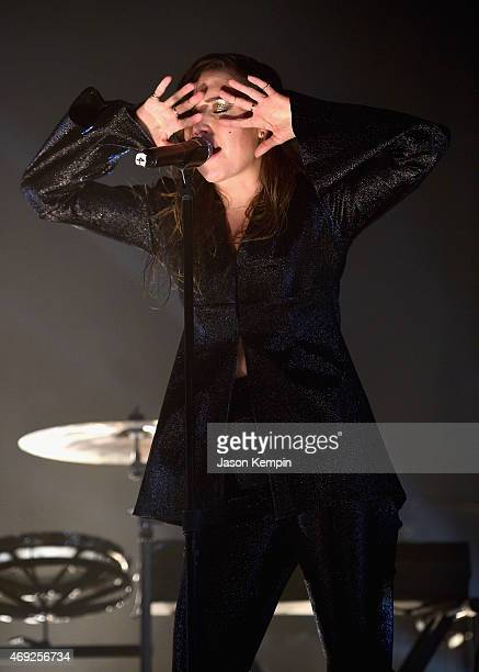 Singer Lykke Li performs onstage during day 1 of the 2015 Coachella Valley Music Arts Festival at the Empire Polo Club on April 10 2015 in Indio...