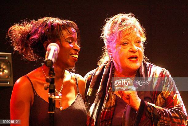 Singer Lynieve Austin with actress and singer Sylvia Syms The Warehouse Croydon London Image by Brian O'Connor