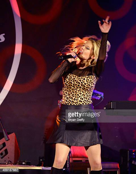 Singer Lyssa Lynne performs during Mondays Dark with Mark Shunock Benefiting Vegas Shepherd Rescue Vinyl inside the Hard Rock Hotel Casino on...