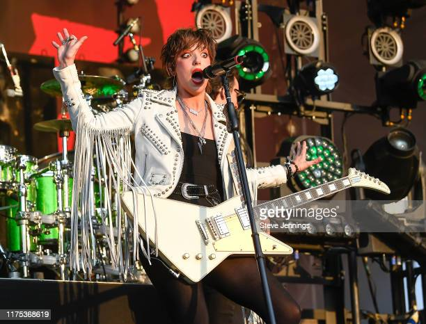 Singer Lzzy Hale of Halestorm performs on Day 1 of the 2019 Aftershock Music Festival at Discovery Park on October 11 2019 in Sacramento California
