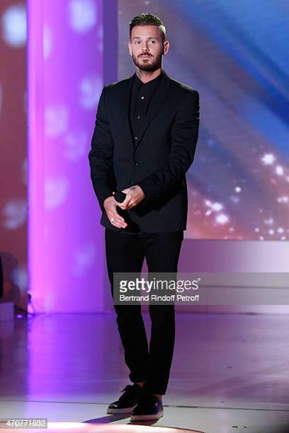 Singer M Pokora performs and present his new Album RED during the 'Vivement Dimanche' French TV at Pavillon Gabriel on April 22 2015 in Paris France