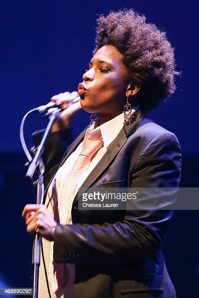 Singer Macy Gray performs at a celebration of the 60th anniversary of Allen Ginsberg's Howl with music words and funny people at The Ace Hotel...