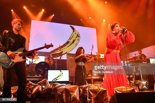 Singer Macy Gray performs onstage during the Above Ground concert benefiting MusiCares at Belasco Theatre on April 16 2018 in Los Angeles California