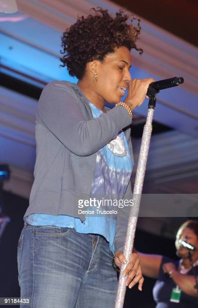 Singer Macy Gray rehearses for the 14th annual Andre Agassi Foundation for Education's Grand Slam for Children benefit concert at Wynn Las Vegas...