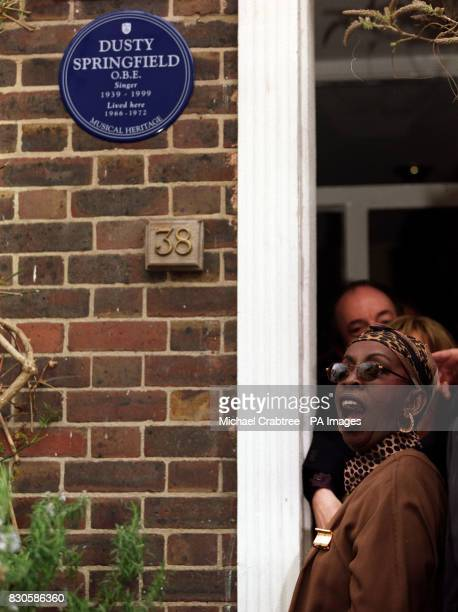 Singer Madeline Bell at the unveiling of a blue plaque in honour of sixties pop star Dusty Springfield at a house in Aubrey Walk Kensington London...