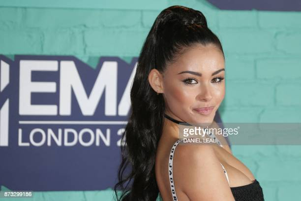 US singer Madison Beer poses on the red carpet arriving to attend the 2017 MTV Europe Music Awards at Wembley Arena in London on November 12 2017 /...