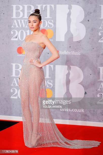 US singer Madison Beer poses on the red carpet on arrival for the BRIT Awards 2019 in London on February 20 2019 / RESTRICTED TO EDITORIAL USE NO...