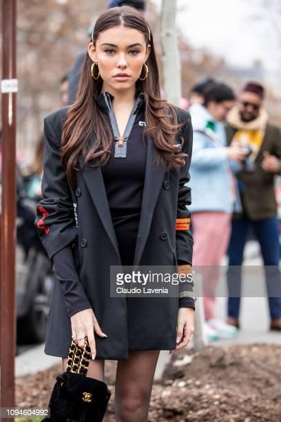 Singer Madison Beer wearing a black Heron Preston jacket is seen in the streets of Paris after the Heron Preston show on January 15 2019 in Paris...