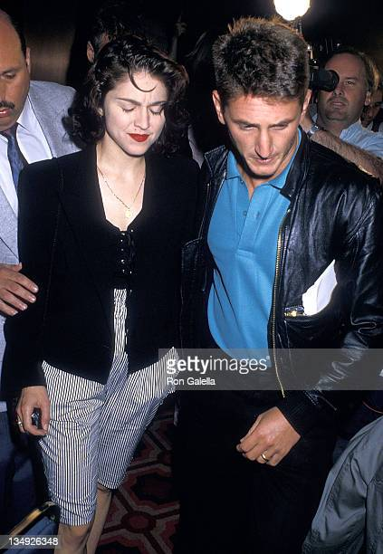 Singer Madonna and actor Sean Penn attend the World Heavyweight Championship Boxing Match Mike Tyson vs Michael Spinks on June 27 1988 at Trump Plaza...
