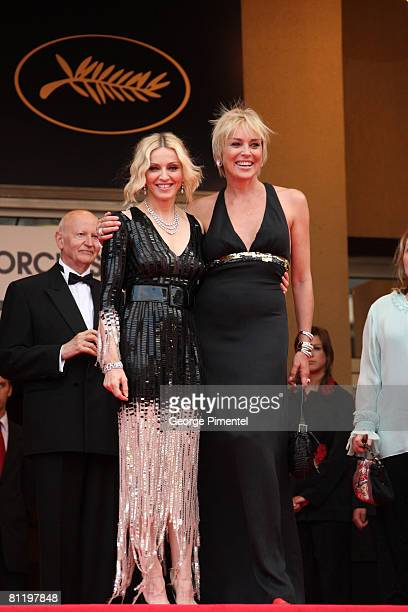 Singer Madonna and actress Sharon Stone attend the 'I Am Because We Are' premiere at the Palais des Festivals during the 61st International Cannes...