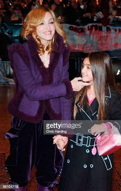 Singer Madonna and daughter Lourdes arrive at the World Premiere of Harry Potter And The Goblet Of Fire at the Odeon Leicester Square on November 6...